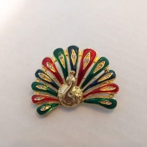 Peacock Gold-Tone Red Green Teal Enamel with Rhine